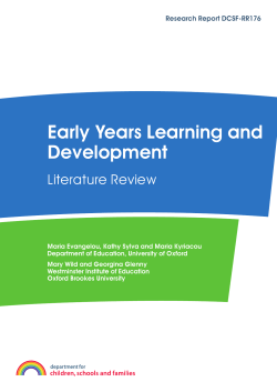 Early Years Learning and Development