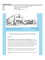 Glendale City Church News September 10, 2013 Robert Gosselin