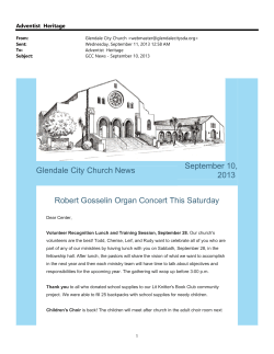 Glendale City Church News September 10, 2013 Robert Gosselin