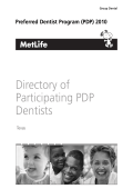Directory of Participating PDP Dentists - The City of San Antonio