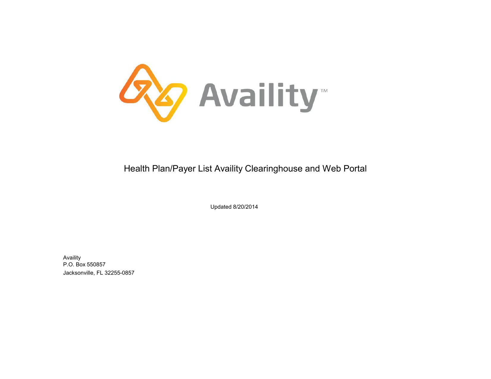 Health Plan/Payer List Availity Clearinghouse and Web Portal