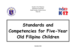 Standards and Competencies for Five-Year Old Filipino Children