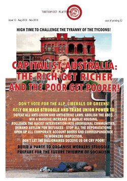 capitalist australia: the rich get richer and the poor get poorer!