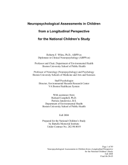 Neuropsychological Assessments in Children from a Longitudinal