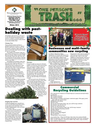 Dealing with post- holiday waste - El Dorado Disposal