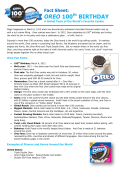 Oreo 100th Birthday Global Fact Sheet