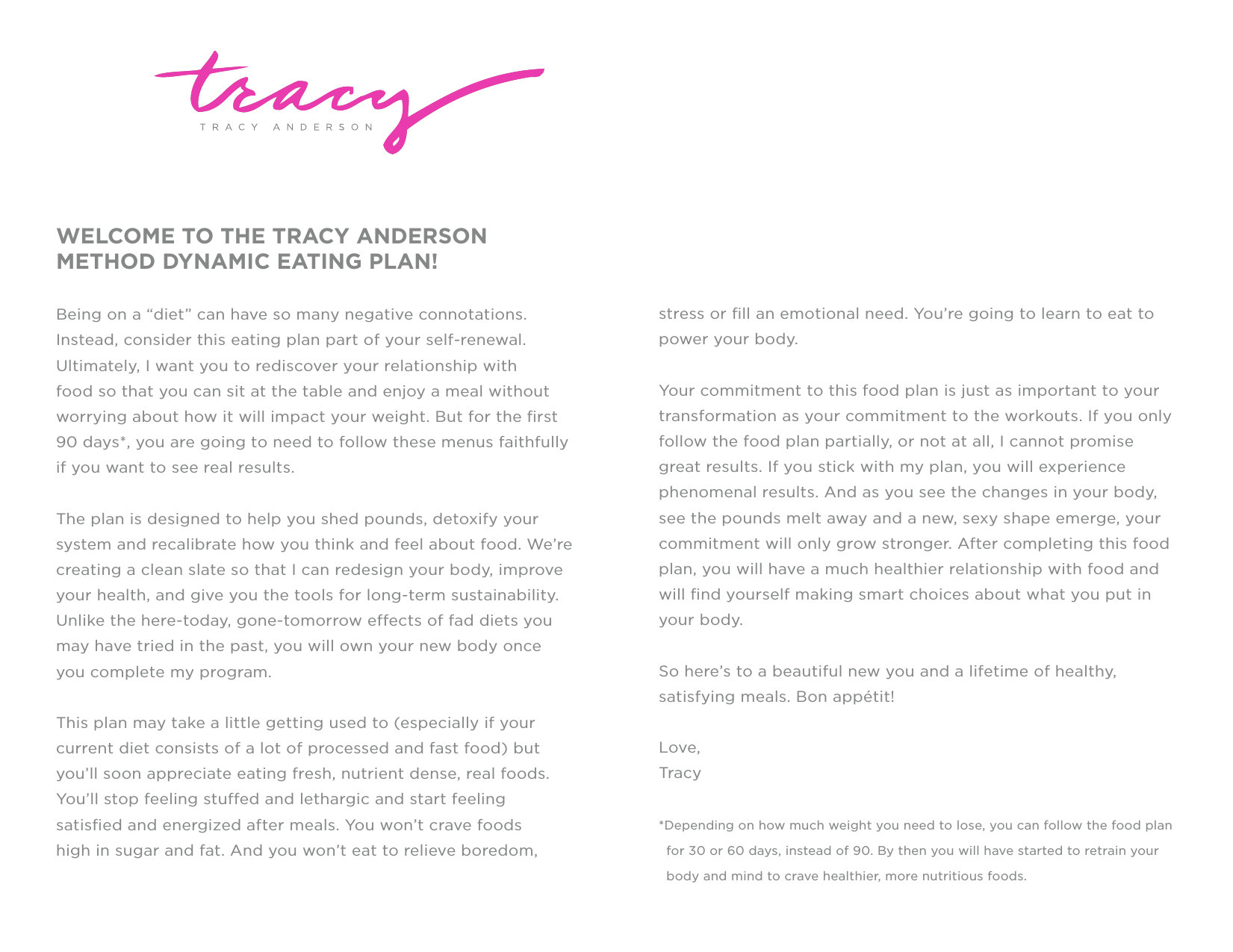 welcome to the tracy anderson method dynamic eating plan!