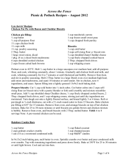 Picnic Potluck Recipes - University of Vermont
