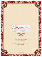 Dinner Menu - Tiramisu Italian Restaurant