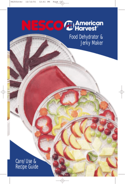Food Dehydrator Jerky Maker Care/Use Recipe Guide