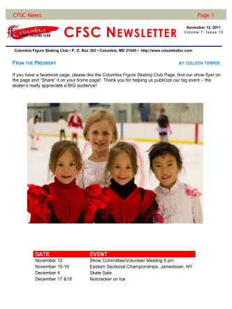 CFSC News Page 1 DATE EVENT - Columbia Figure Skating Club