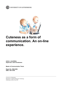 Cuteness as a form of communication. An on-line - GUPEA