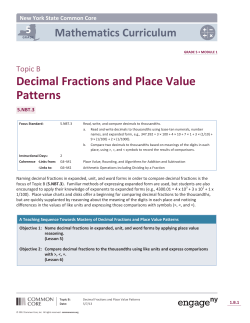 Decimal Fractions and Place Value Patterns - The Syracuse City