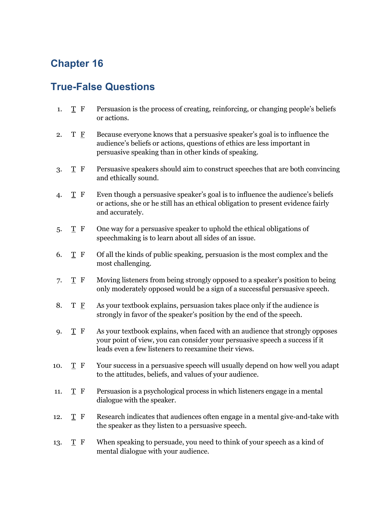 Chapter 8 True-False Questions
