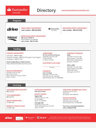 Dealer Contact Sheet - Santander Consumer USA
