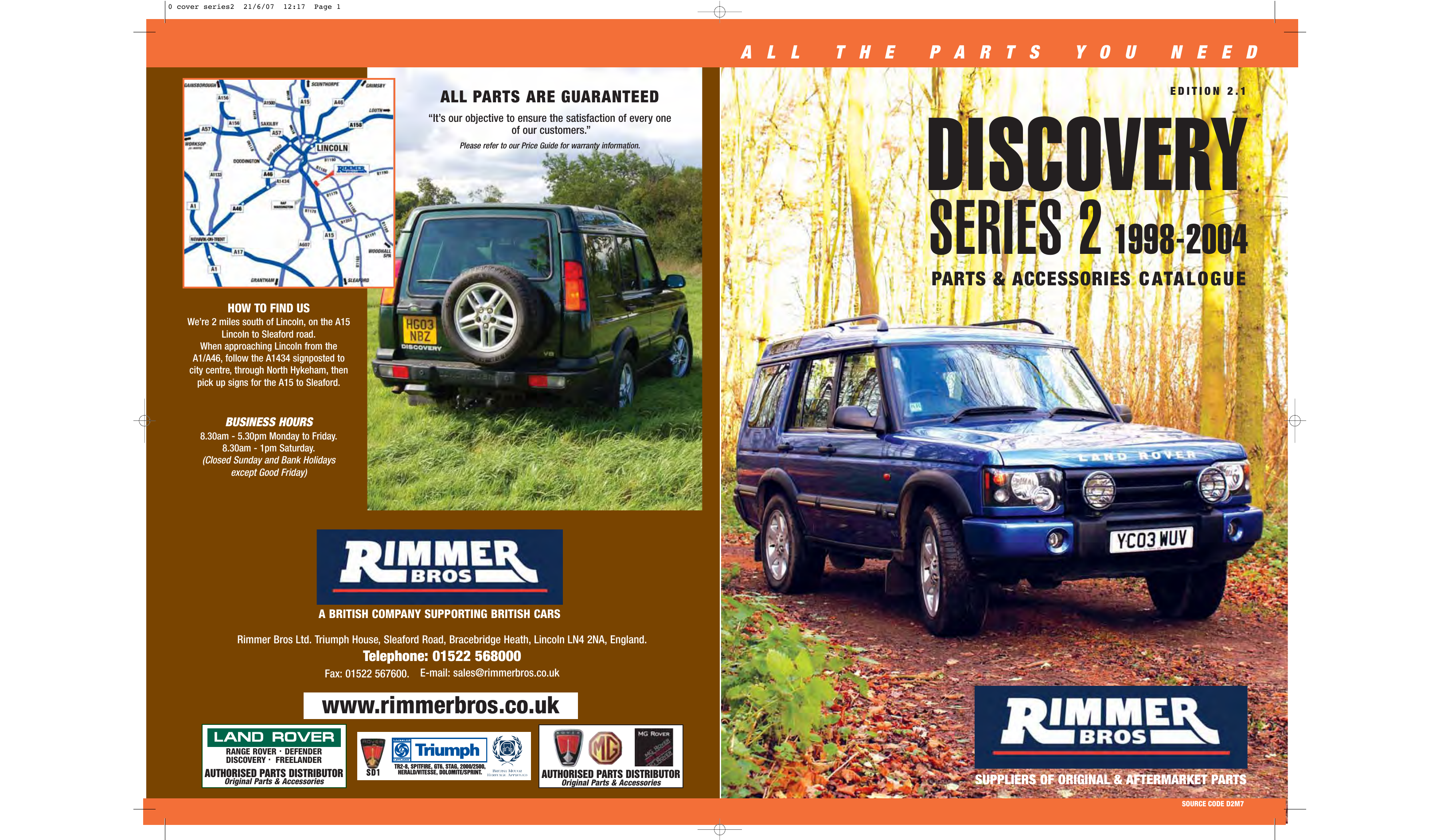 Land Rover Discovery Series 2 Rimmer Brothers 1998 Parts