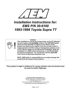 Installation Instructions for: EMS P/N 30-6100 1993-1998 Toyota