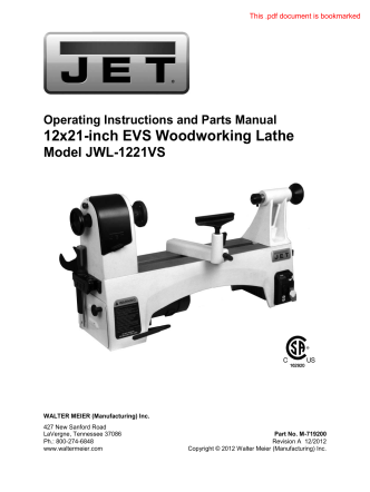 12x21-inch EVS Woodworking Lathe - Home Depot