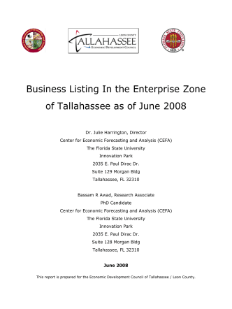 Business Listing In the Enterprise Zone of Tallahassee as of June