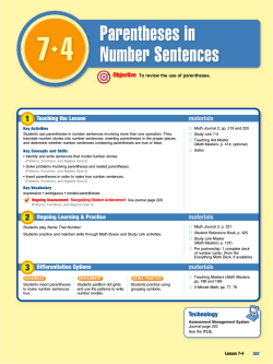 Lesson 7.4 Parentheses in Number Sentences