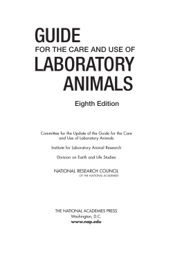 Guide for the Care and Use of Laboratory Animals - NIH - National