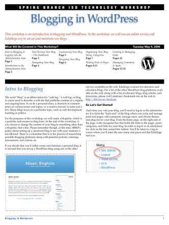 Blogging in WordPress