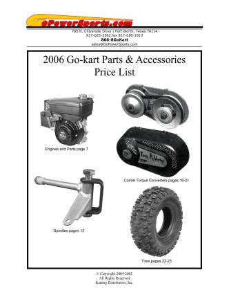 2006 Go-kart Parts Accessories Price List - Karting Distributors
