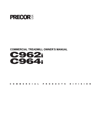 COMMERCIAL TREADMILL OWNERS MANUAL - Precor