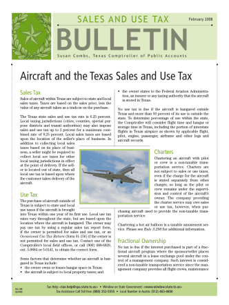 94-168 Aircraft and Texas Sales and Use Tax - Window on State