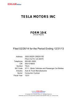 TESLA MOTORS INC - Corporate Solutions