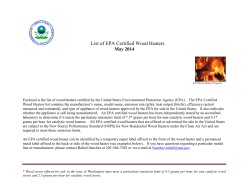 List EPA Certified Wood Stoves - Environmental Protection Agency