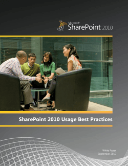 SharePoint 2010 Usage Best Practices | White Paper