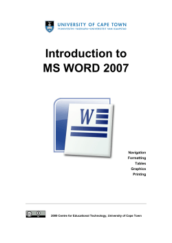Introduction to MS WORD 2007 - Vula - University of Cape Town