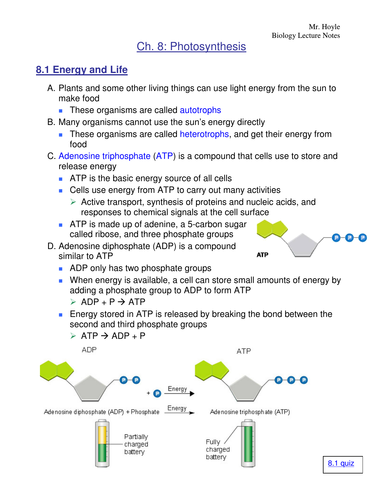Energy and life 8 1 worksheet answers