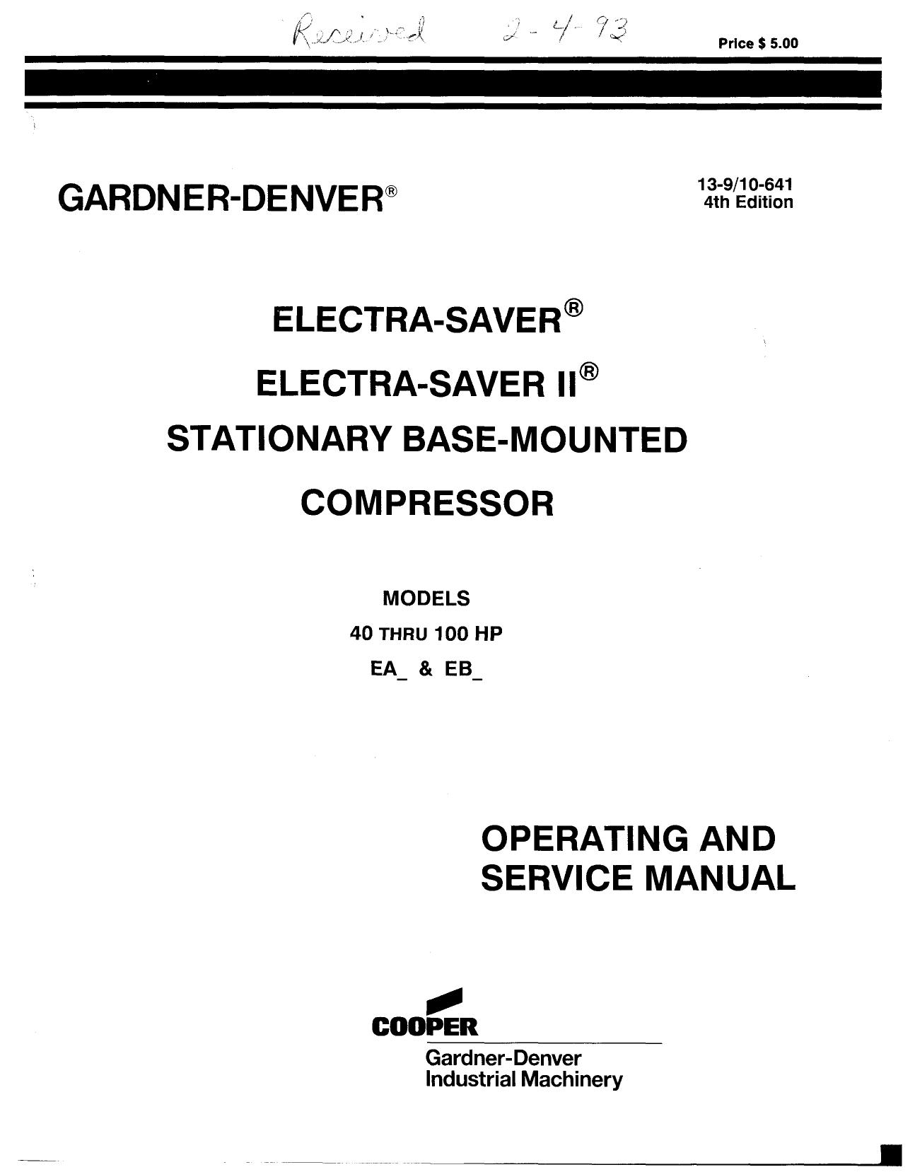 Electra Saver Ii Service manual