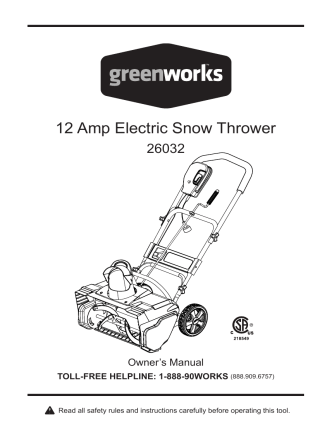 12 Amp Electric Snow Thrower - Snow Blowers Direct