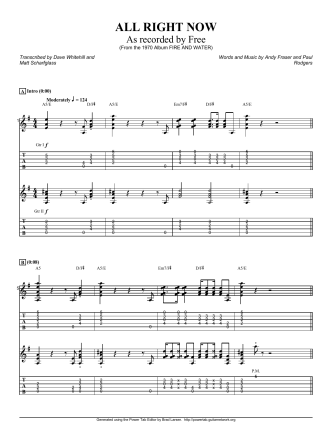 Complete Transcription To All Right Now - Guitar Alliance