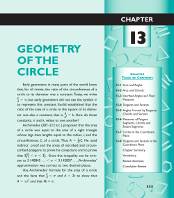 Chapter 13 Geometry of the Circle
