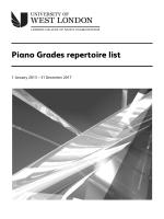 LCM Exams - piano grades repertoire list - University of West London