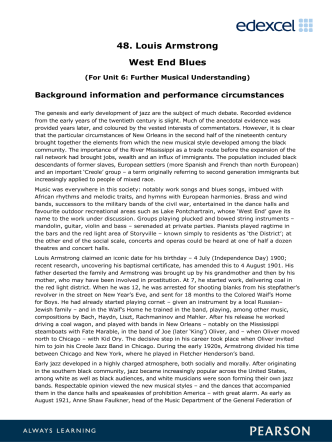 48. Louis Armstrong West End Blues - Edexcel