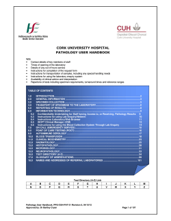 CORK UNIVERSITY HOSPITAL PATHOLOGY USER HANDBOOK