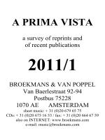 Prima Vista 2011 No.1 - Broekmans Van Poppel