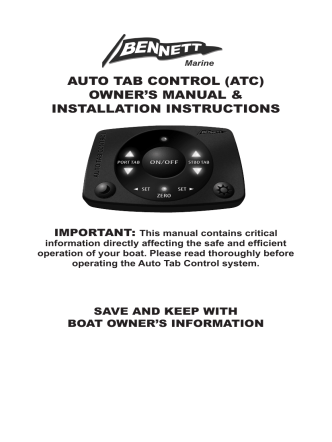 auto tab control (atc) owners manual installation - Palby Marine