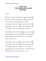 Hot Love Tab Chords And Lyrics By TRex - Learn-Classic-Rock-Songs