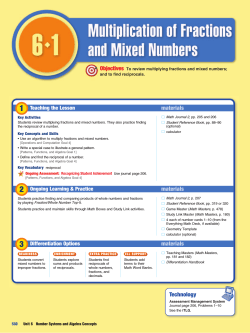 Lesson 6.1 Multiplication of Fractions and Mixed Numbers