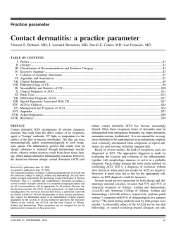 Contact dermatitis: a practice parameter - The American Academy of