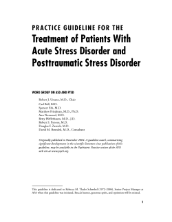 Treatment of Patients With Acute Stress Disorder - Cascade Centers