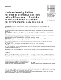 Evidence-based guidelines for treating depressive disorders with