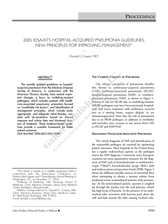 2005 idsa/ats hospital-acquired pneumonia guidelines - Advanced