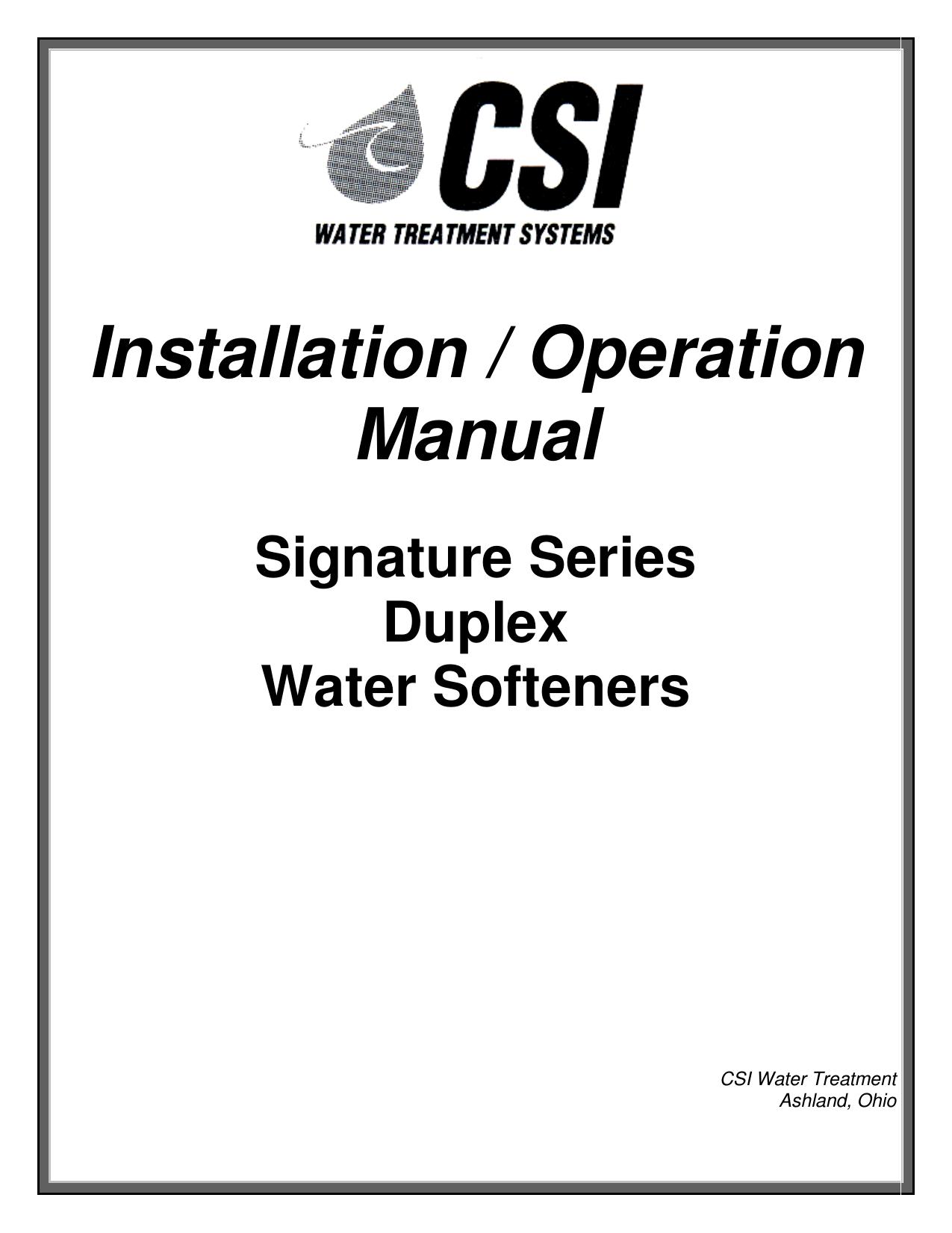 Installation Operation Manual Csi Water Treatment Whirlpool Softener Wiring Diagram
